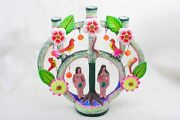 Large 10.5 Mexican Tree Of Life Folk Art Candle Holder By Castillo