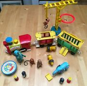 Vintage Fisher Price Little People Family Circus Train 991 And Animal 135 Toy Lot