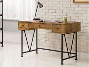 Analiese Industrial 3- Drawer Antique Nutmeg Home Office Writing Desk 801541