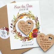 Fall Save The Date Heart Magnets, Wedding Wreath Save The Date Cards For Autumn