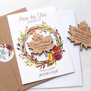 Autumn Maple Leaf Save The Date Magnets With Cards, Fall Save The Date Cards