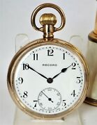 Record Pocket Watch 50mm Signed 15 Joules 1930 14k Gold Filed Stem Winding