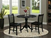 Dublin Black 3 Piece 42 Drop Leaf Dining Table Set With Wooden Seat Chairs