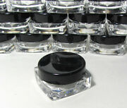 500 Small Square Cosmetic Containers Lip Balm Jars Pot Black Lid 3 Gram Ml 3048