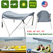 43and039and039-63and039and039 Foldable 2 Bow Bimini Boat Top Canopy Cover Sun Shade Aluminum Poles