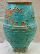 Large 19th Century Mediterranean Olive Oil / Wine Jar With Turquoise Terracotta