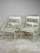 Pair Of White 1930and039s French Garden Armchairs From Vichy