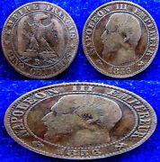 France - 1856 + 1861 + 1898 + 1899+ 1900 + 1902+1908 - 5 Centimes - 7 Coins Lot