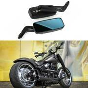 Black Rectangle Motorcycle Mirrors For Harley Davidson Fatboy Custom Touring Us