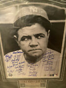 Babe Ruth Framed New York Yankees Lithograph 23 Hofandrsquos Autographed Steiner Coa