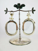 Emilia Castillo Silver Plate Malachite Hanging Monkey Double Picture Frame As Is