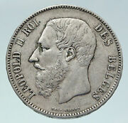 1869 Belgium With King Leopold Ii And Lion Genuine Silver 5 Francs Coin I86491