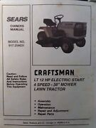 Sears Craftsman Lt 12 Lawn Tractor And 38 Mower Owner And Parts Manual 917.254631