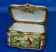 Antique Capodimonte Hand Painted Rare Hunting Scenes Snuff Box Porcelain Signed