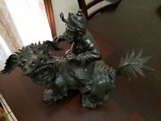 Large 20lbs Chinese Antique Bronze/brass Foo Dog With Mounted Warrior 16x13.5