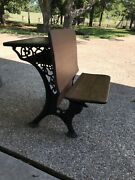 Antique School Desk, Wood And Ornate Wrought Iron