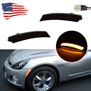 For 06-10 Pontiac Solstice And Saturn Sky Smoked Amber Led Front Sidemarker Lamps