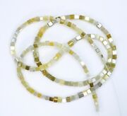 34.00 Ct Necklace Strand Silver Claps Natural Multi Color Cube Shape Beads