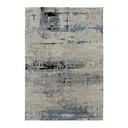 6and0393x8and03910 Abstract Design Silver-blue Hand Knotted Wool And Silk Rug R58481