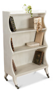 45 Tall Bookcase Working White Solid Oak Wood And Mahogany Veneers On Casters
