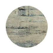 8'x8' Abstract Design Silver-blue Modern Hand Knotted Wool-silk Round Rug R58510