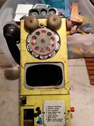 Vintage Disney Mickey Mouse Tin Toy Pay Phone For Parts Or Repair