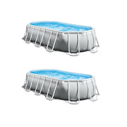 Intex 16.5ft X 9ft 48in Prism Frame Above Ground Swimming Pool Pump Set 2 Pack