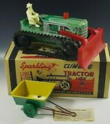 1950's Marx Climbing Tractor Sparkling Tractor Set Windup Toy Mib 31