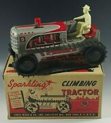 1950's Marx Climbing Tractor Sparkling Tractor Windup Toy Mib 30 Red