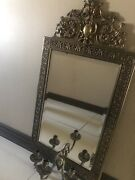 Antique French Mirror With Brass Frame And Candle Holder 38x18