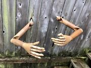 Pair Jointed Wood Life Size Articulating Mannequin Arms Lay Figure Display