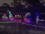 Large Christmas Train Outdoor Lighted Decoration Christmas Holiday Steel