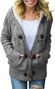 Aleumdr Womens Hooded Cardigans Casual Long Sleeve Button Up Cable Knit Sweater