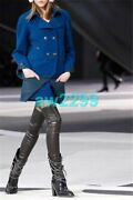 13k 6435 New Color Block Tweed Runway Double Breasted Coat Jacket 36