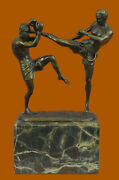 Kick-boxing Monte-carlo Fighting Masters Hand Made Bronze Sculpture Marble Decor