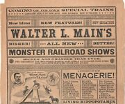 Rare Large 1880s Double Sided Advertising Broadside For Walter Mainand039s Circus