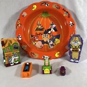 Vintage Looney Tunes Plastic Trick Or Treat Bowl Banks Toys - Bugs Porky