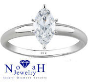 1.01 Ct Marquise Cut Diamond Ring Color F/si2 14k Gold 100 Natural Certified