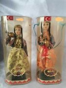 Vintage Folk Baby Doll Turkish Villager Peasant Water Carrying Dools Lot Of 2