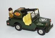 Vintage Military Tin Toy Friction Driven Jeep With Gunner In Bowler Japan