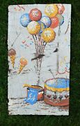 Hand Painted Tar Paper Antique Circus Advertising Poster Drum And Balloon Salvaged