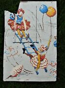 Hand Painted Tar Paper Antique Circus Advertising Poster Lady Clowns, Salvaged