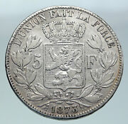 1873 Belgium With King Leopold Ii And Lion Genuine Silver 5 Francs Coin I86531