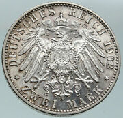 1902 Germany German State Baden King Friedrich I Antique Silver 2 Mk Coin I86576