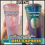 Starbucks Singapore Green Oil Slick And Pink Sakura Studded Cold Cup + Dhl Express