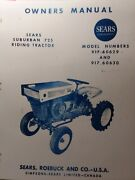 Sears Suburban 725 David Bradley Riding Tractor Owner And Parts Manual 917.60630