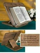 Adjustable Wood Bible Stand With Engraved Bible Verse + Antique Maple