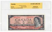 ✪ 1954 2 Bank Of Canada Note Devil Face Low Serial 184 - Ch Unc 64