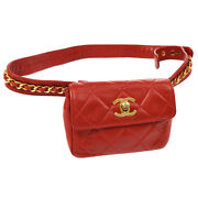 Quilted Cc Chain Mini Bum Belt Bag Red Leather Ghw Ak36832k