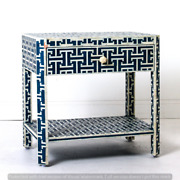 Personalized Bone Inlay Beautifully Decorated Bed Side Table